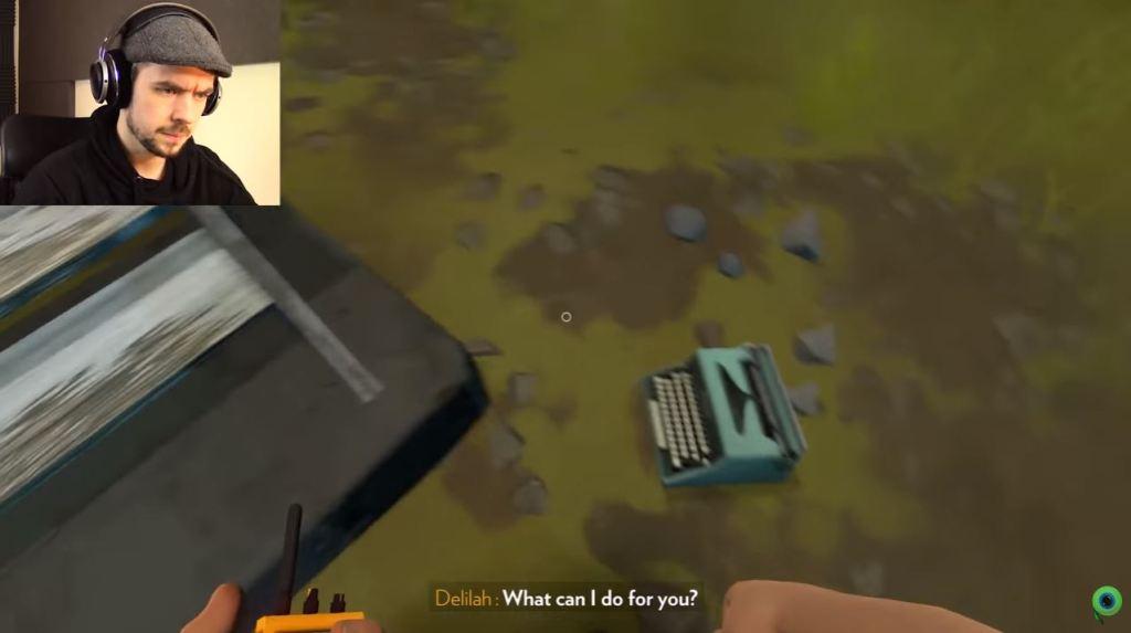 A screenshot of jacksepticeye playing firewatch.